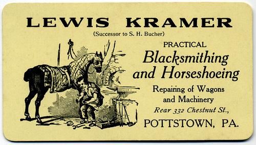 Lewis Kramer, Practical Blacksmithing and Horseshoeing, Pottstown, Pa.