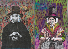 2 Postcards: Knitting Welshwomen