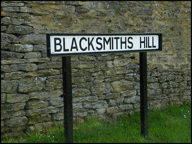Blacksmiths Hill street sign