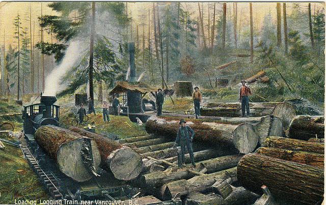 Loading Logging Train near Vancouver, B.C.