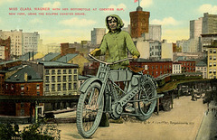 Miss Clara Wagner with Her Motorcycle at Coenties Slip, New York