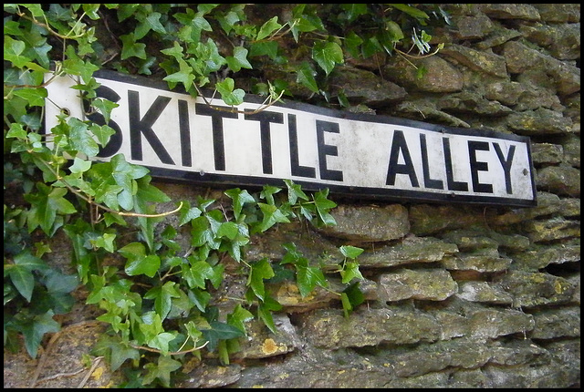 Skittle Alley street sign