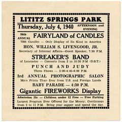 Fairyland of Candles, Lititz Springs Park, Lititz, Pa., July 4, 1940