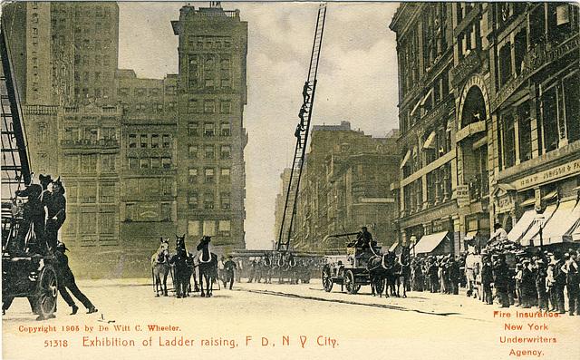 Exhibition of Ladder raising, F D, N Y City.