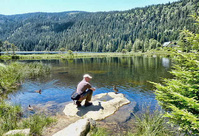 Me at Bayerische Wald talking to a duck