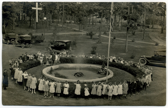 Children Saluting at the Fountain, Bible School Park, New York, ca. 1920s
