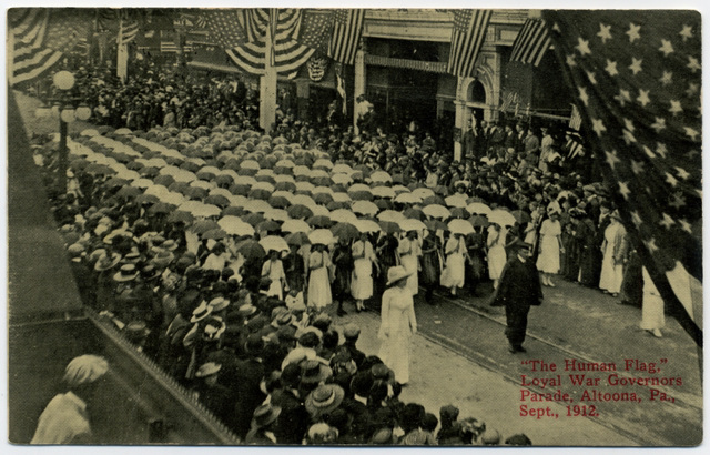 Human Flag, Loyal War Governors Anniversary Parade, Altoona, Pa., 1912