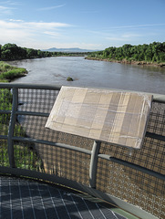 Plastic-wrapped cardboard of scenic overlook of Rio Grande.