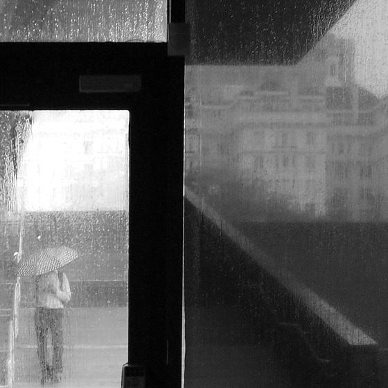 b&w rain