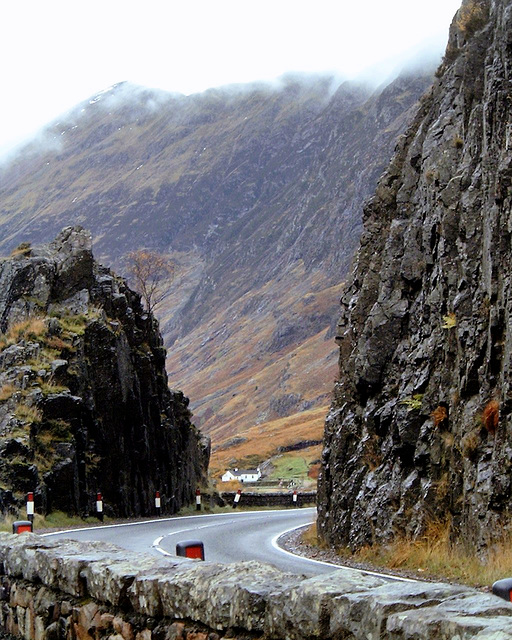 On the road through Glen Coe Scotland