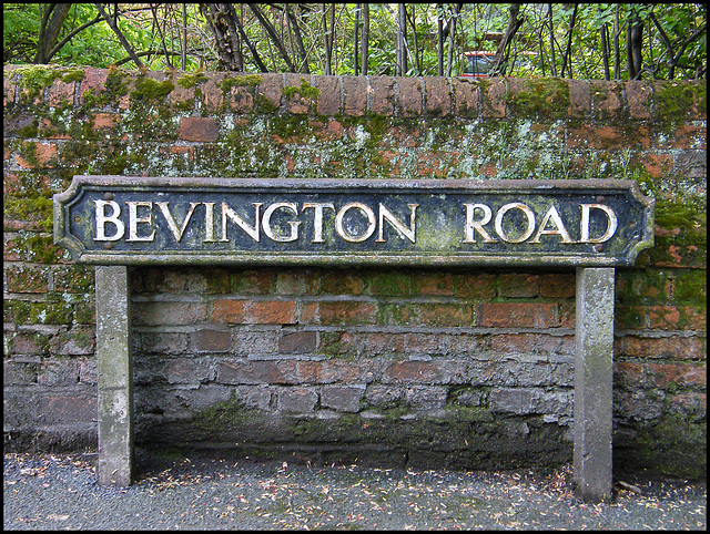 Bevington Road street sign