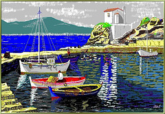 Greek fisherboats; 'Painted' with my PC... ©UdoSm