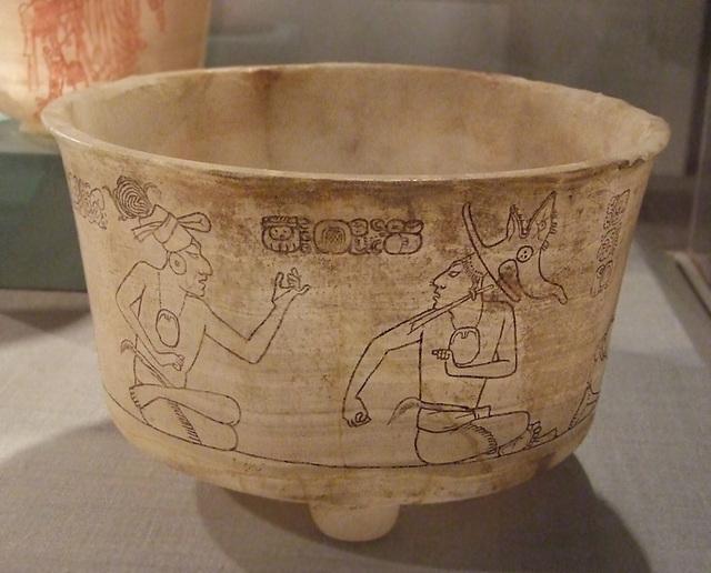 Mayan Incised Stone Tripod Vase in the Princeton University Art Museum, July 2011