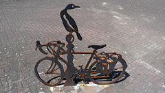 Greenland Dock cormorant and bicycle sculpture