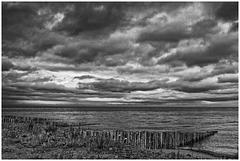 Heavy sky over Dunster beach
