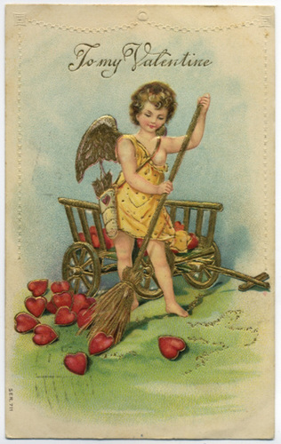 Cupid Sweeping Up Hearts