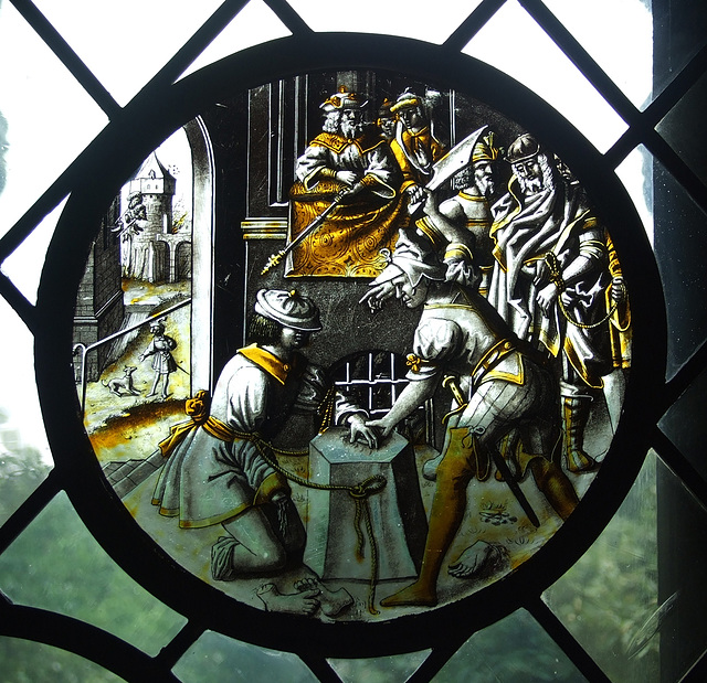 The Martyrdom of St. Jacobus Intercisus Stained Glass in the Cloisters, June 2011