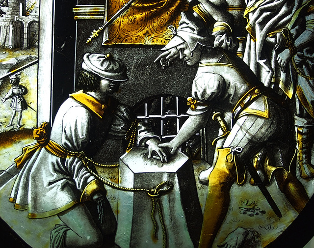 Detail of The Martyrdom of St. Jacobus Intercisus Stained Glass in the Cloisters, June 2011