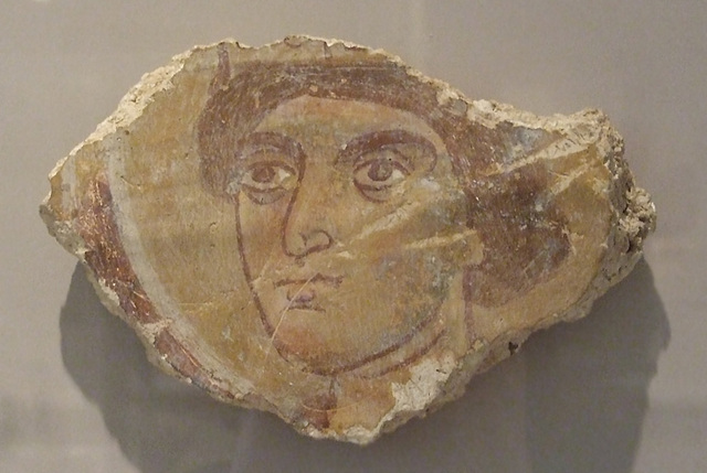 Fragment of a Byzantine Wall Painting with the Head of a Saint in the Princeton University Art Museum, July 2011