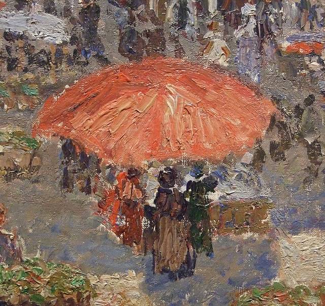 Detail of Fair on a Sunday Afternoon, Dieppe by Pissarro in the Philadelphia Museum of Art, January 2012