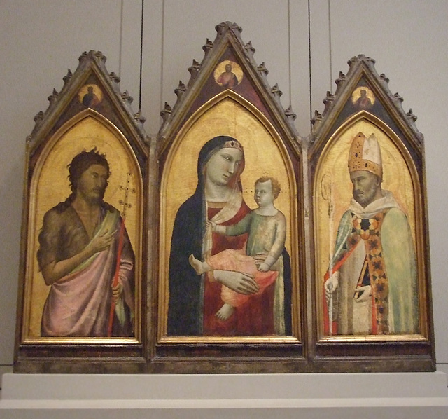 Altarpiece with the Virgin and Child and Saints John the Baptist and Giles by Bernardo Daddi in the Philadelphia Museum of Art, August 2009