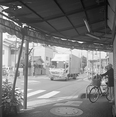 Corner of the intersection with awning
