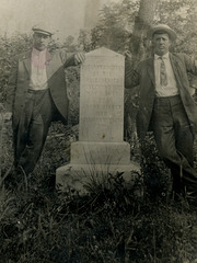 Men Posing at the Lost Children of the Alleghenies Monument