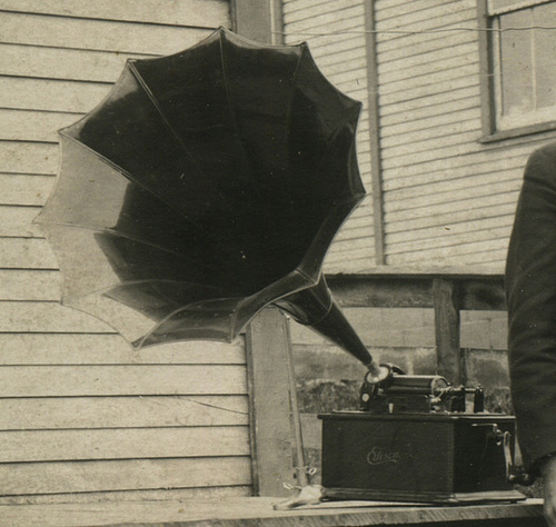 Young Man Posing with an Edison Cylinder Phonograph (Detail)