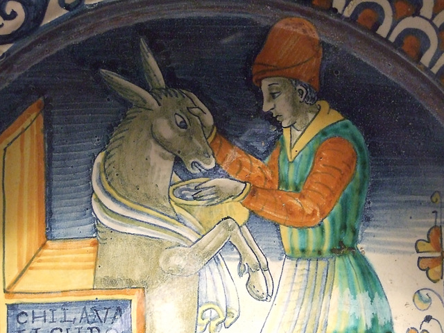 Detail of a Dish with a Man Washing the Head of an Ass in the Metropolitan Museum of Art, March 2011