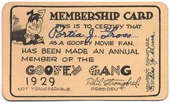 Goofey Gang Membership Card, 1929