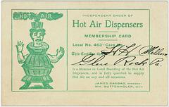 Independent Order of Hot Air Dispensers Membership Card