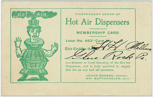 Independent Order of Hot Air Dispensers Membership Card