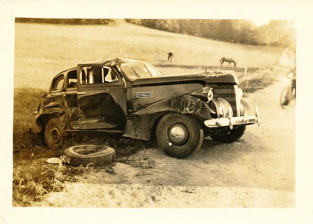 Wrecked 1939 Pontiac Six Touring Sedan