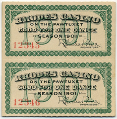 Rhodes Casino on the Pawtucket, Ticket Good for One Dance, Season 1901