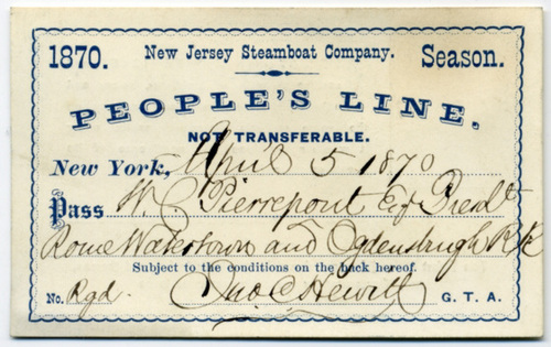 New Jersey Steamboat Company Pass 1870 (Front)