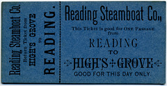 Reading Steamboat Company Ticket, Reading, Pa., to High's Grove