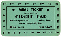 Meal Ticket Good Only at Circle Bar, Reading, Pa.