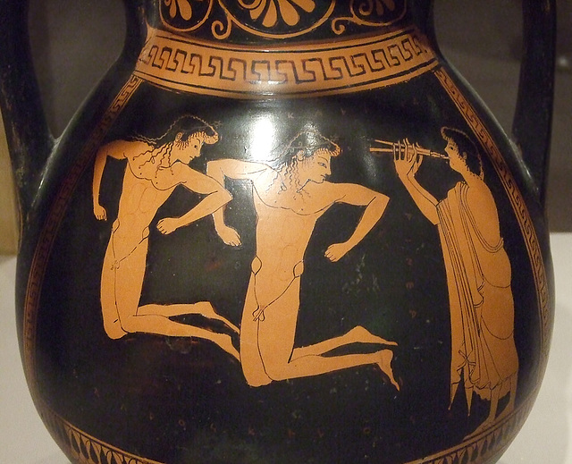 Detail of a Pelike with Boys Jumping by an Artist in the Circle of Euphronios in the Boston Museum of Fine Arts, June 2010