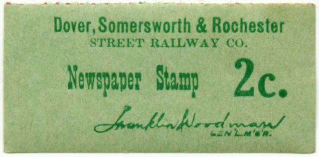 Newspaper Stamp, Dover, Somersworth & Rochester Street Railway