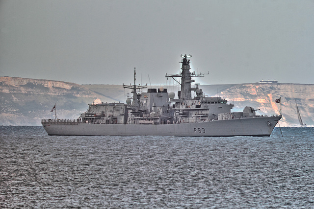 DUKE class Type 23 frigate HMS St Albans (F83) in Weymouth Bay