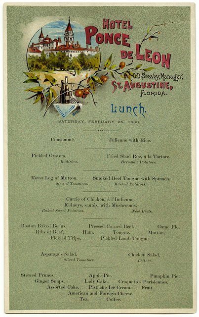 Lunch Menu, Hotel Ponce de Leon, St. Augustine, Florida, Feb. 26, 1888