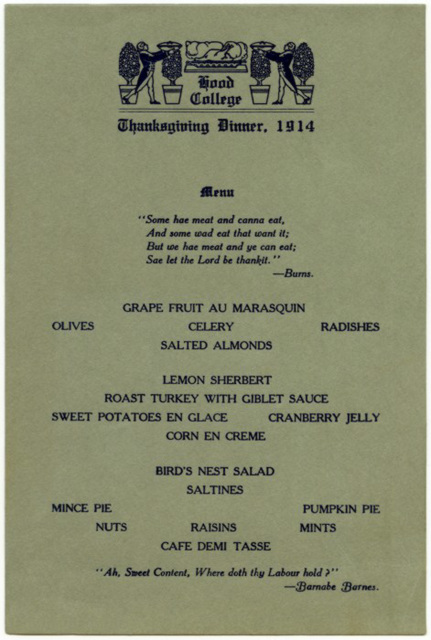 Thanksgiving Dinner Menu, Hood College, Frederick, Md., 1914