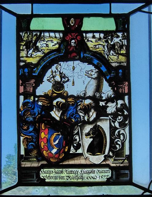 Allianzwappenscheibe aus dem Jahre  1572