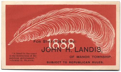 John H. Landis for Pennsylvania State Senator, 1888