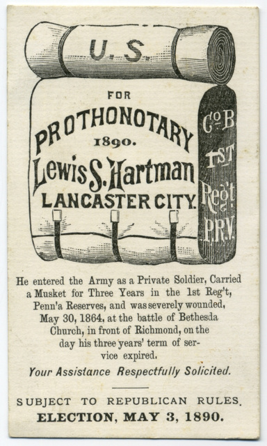 Lewis S. Hartman for Prothonotary, Lancaster, Pa., 1890