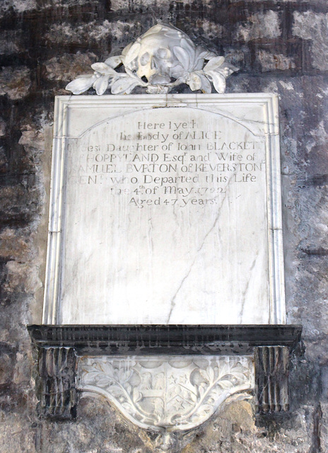 Memorial to Alice Evrton of Keverston, Staindrop Church, County Durham