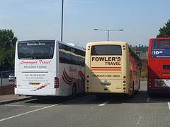 DSCF5484 Longmynd Travel BU14 SZR and Fowler's Travel VDO 929 at Bury St. Edmunds - 18 Jul 2014