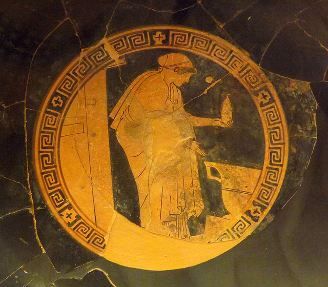Detail of a Kylix with a Woman Holding an Alabastron by Douris in the Vatican Museum, July 2012