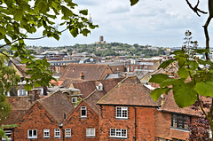 View to Guildford cathedral from the castle mound