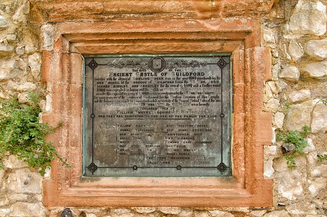 Guildford Castle Keep dedication plaque